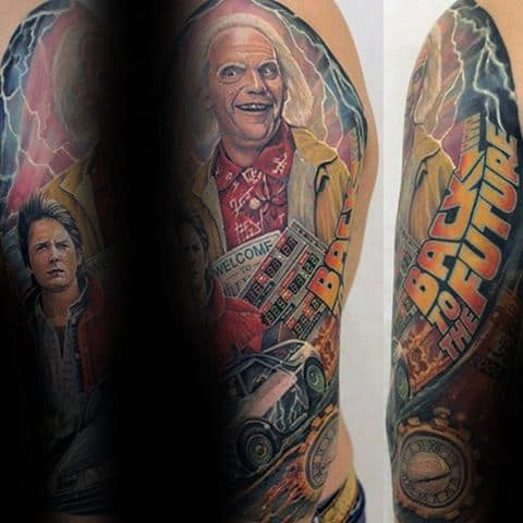 Manly Half Sleeve Guys Back To The Future Themed Tattoo Design Ideas