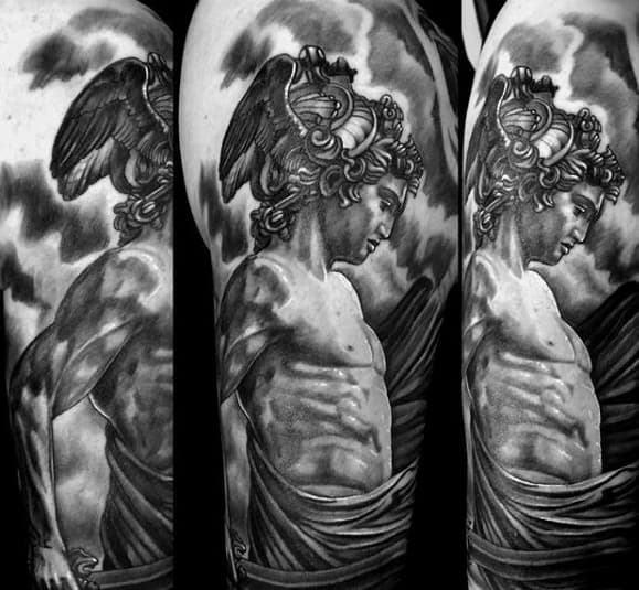 Manly Half Sleeve Shaded Perseus Tattoo Design Ideas For Men