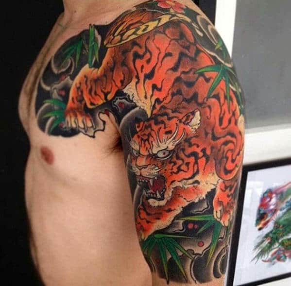 Manly Half Sleeve Tiger Japanese Guys Traditional Tattoo