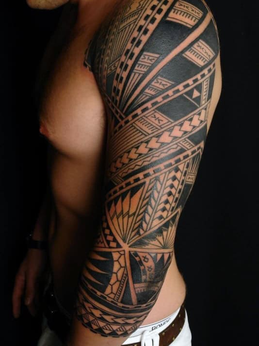 Manly Half Tribal Sleeve Tattoo Design On Man
