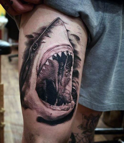 Manly Hammer Head Shark Tattoo Of Jaws