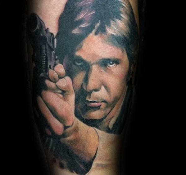 Manly Han Solo Holding Blaster Pistol Arm Tattoo Design Ideas For Men