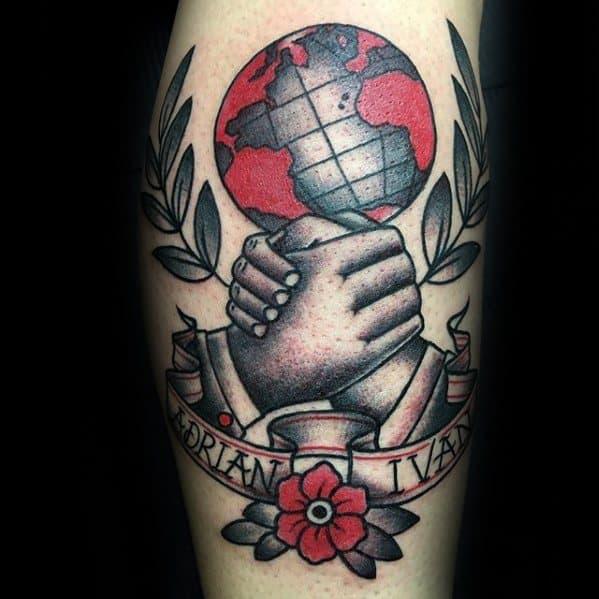Manly Handshake Globe Leg Tattoo Design Ideas For Men