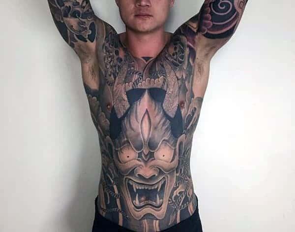 manly-hannya-mask-demonic-male-tattoo-on-full-chest