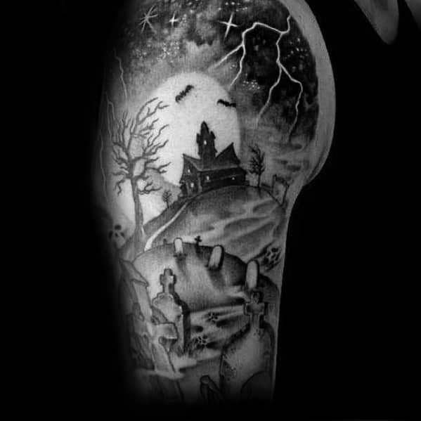 Manly Haunted House Tattoo Design Ideas For Men