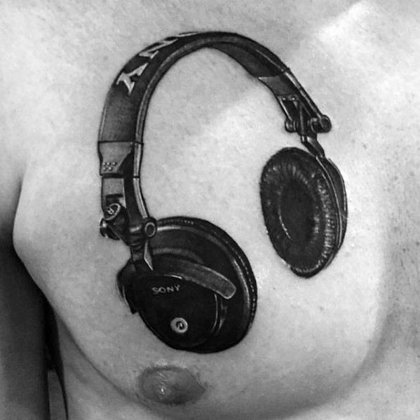 Manly Headphones Tattoo Design Ideas For Men Upper Chest