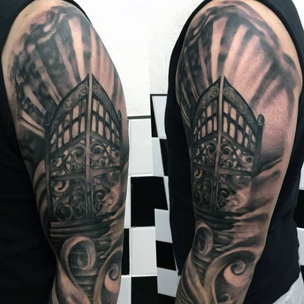 Manly Heaven Gates Half Sleeve Guys Shaded Ink Tattoos