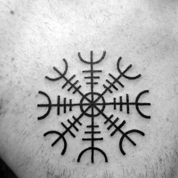 Manly Helm Of Awe Chest Tattoo Design Ideas For Men