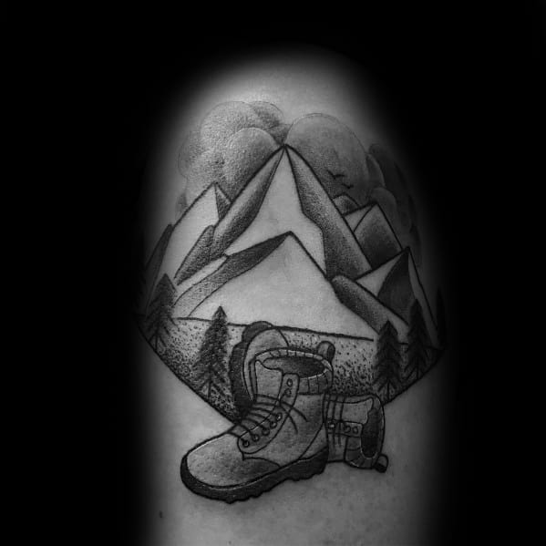 Manly Hiking Tattoos For Males