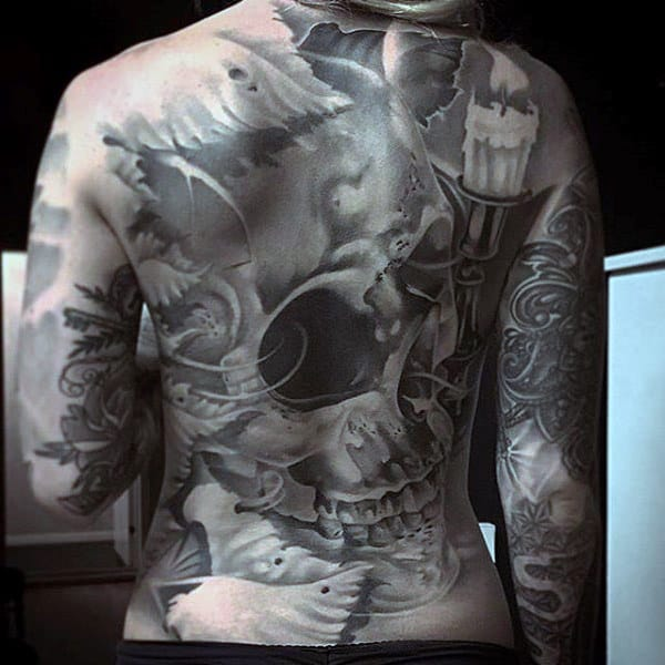 Manly Hollow Eyed Skull Tattoo Male Full Back