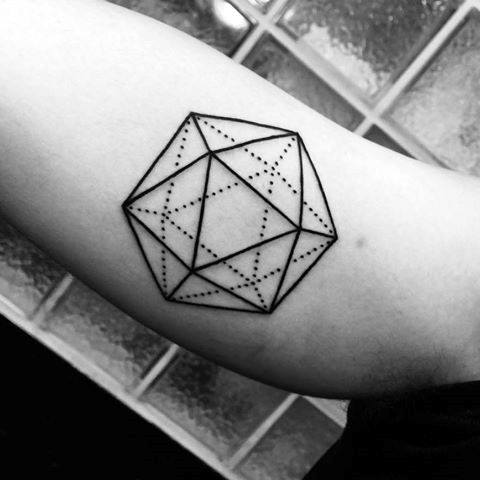 Manly Icosahedron Tattoo Design Ideas For Men