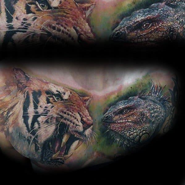 Manly Iguana Tattoo Design Ideas For Men
