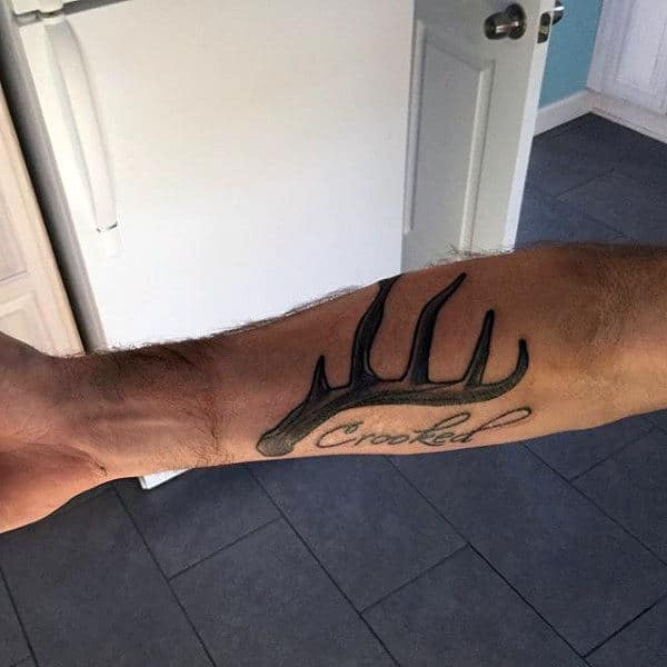 Manly Inner Forearm Antler Crooked Lettering Tattoo