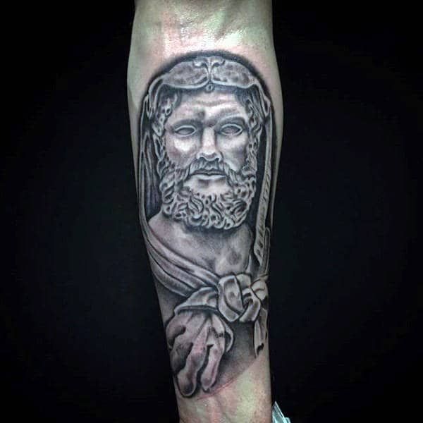 Manly Inner Forearm Hercules Shaded Black And Grey Guys Tattoo Ideas