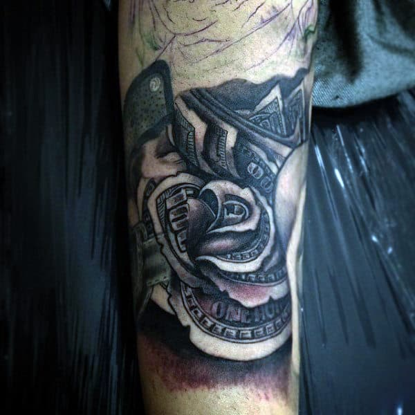 Manly Inner Forearm Money Rose Flower Tattoo For Guys With Shading Effect