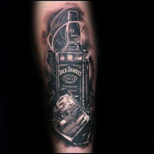 Manly Jack Daniels Tattoo On Guys Arm