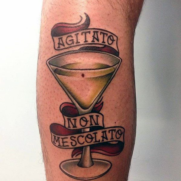 Manly James Bond Shaken Not Stirred Leg Tattoo Design Ideas For Men