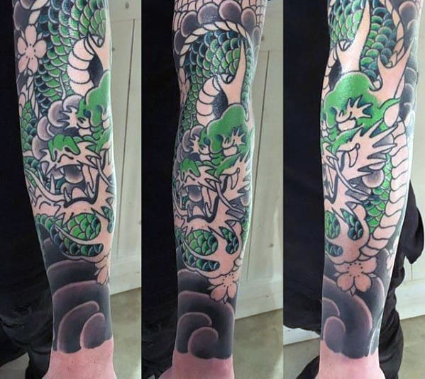 Manly Japanese Black And Grey Ink Dragon Forearm Tattoos For Men