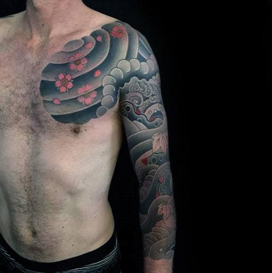 Manly Japanese Cloud Full Sleeve Tattoos For Males