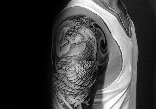 Manly Japanese Half Sleeve Pheasant Tattoo Design Ideas For Men