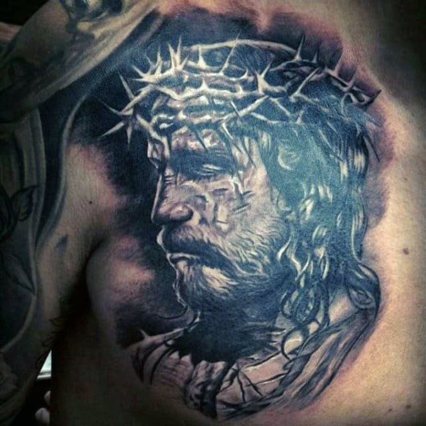 Manly Jesus Chest Tattoos For Gentlemen
