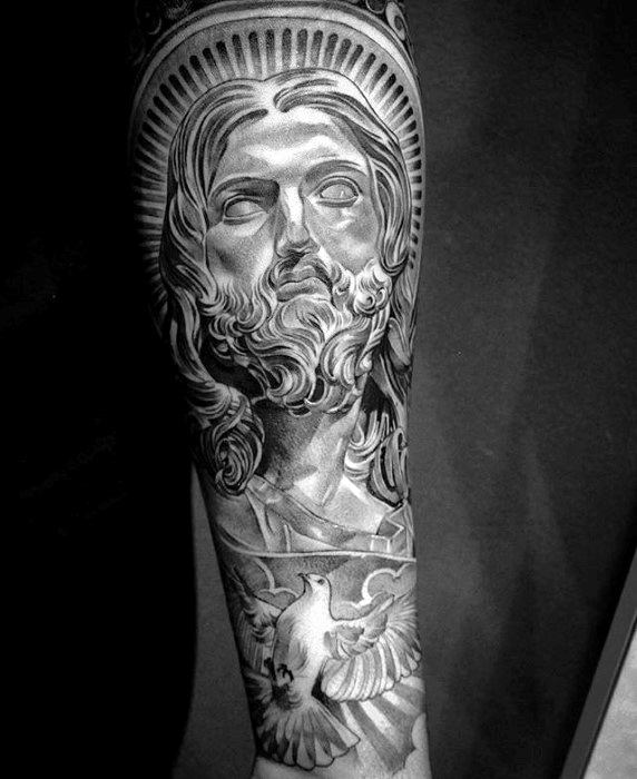 50 jesus forearm tattoo designs for men christ ink ideas for Jesus tattoos on arm