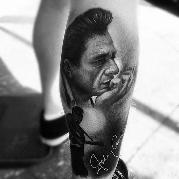Manly Johnny Cash Tattoo Design Ideas For Men On Leg
