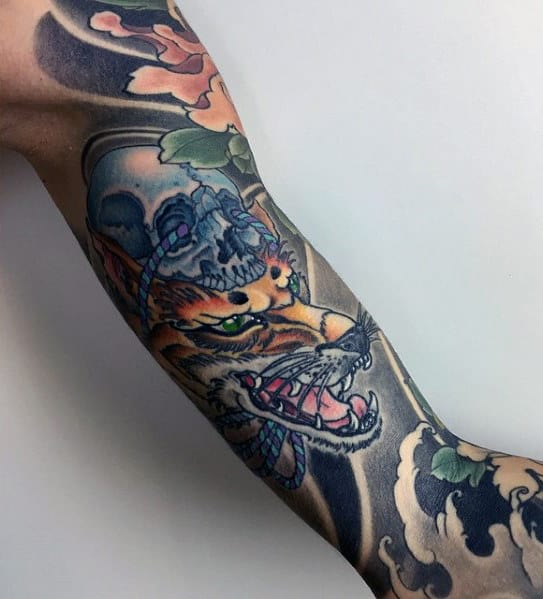Manly Kitsune Inner Arm Guys Japanese Fox Tattoo Ideas