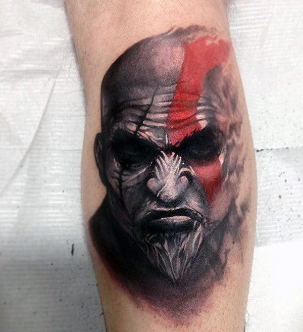 Manly Kratos Leg Calf Tattoos For Men