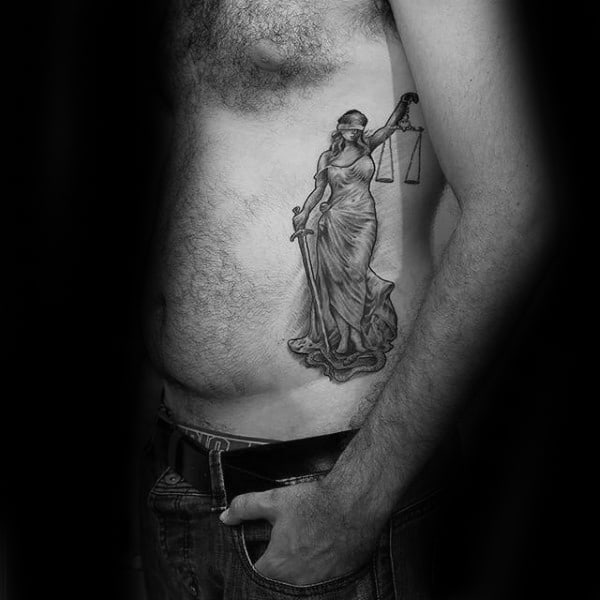 Manly Lady Justice Rib Cage Side Tattoos For Men