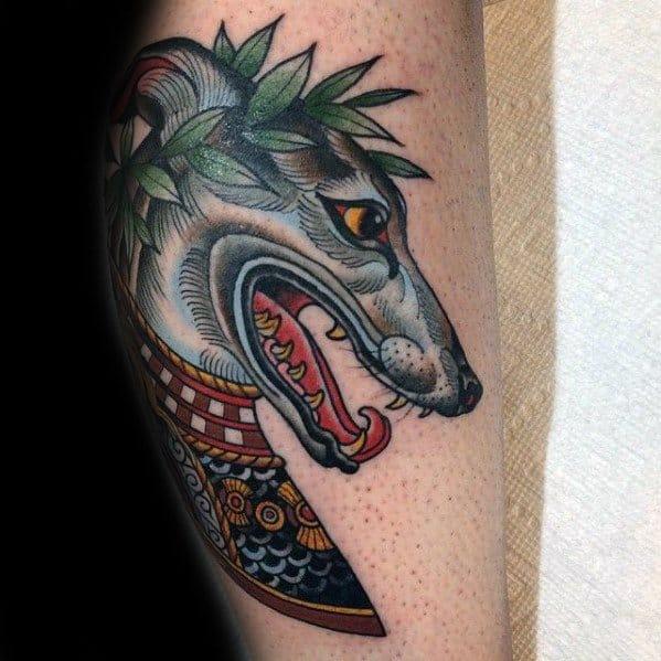 Manly Leg Greyhound Tattoo Design Ideas For Men