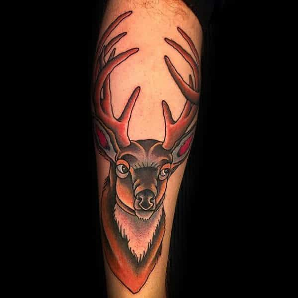 Manly Leg Traditional Deer Male Tattoo Design Ideas
