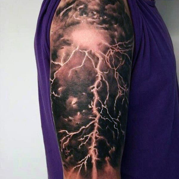 Manly Lightning Mens Tattoos Half Sleeve