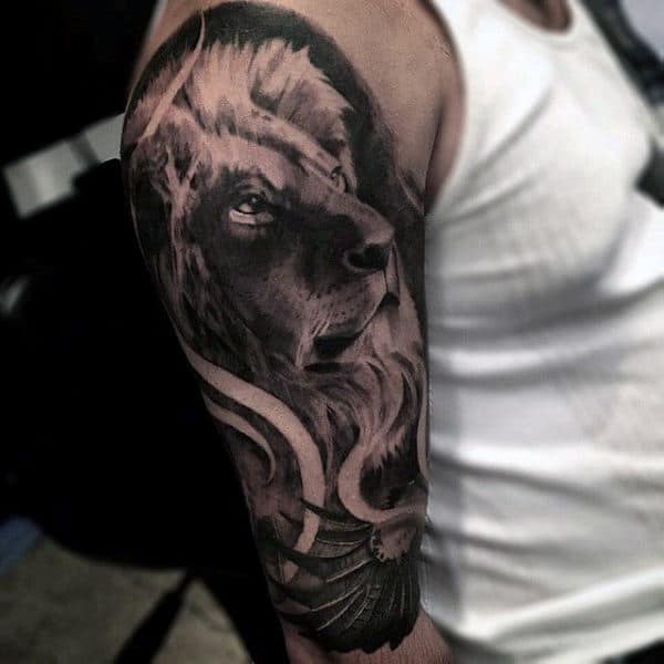 Manly Lion Sleeve Designs Mens Tattoos