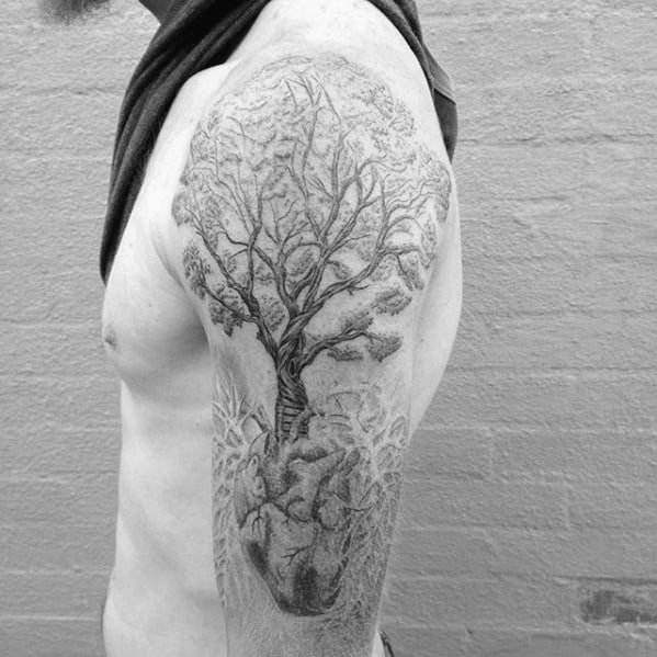 Manly Lung Tree Arm Tattoo Design Ideas For Men