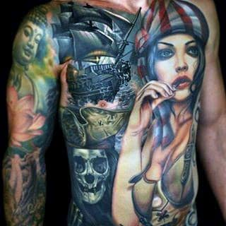Manly Male Tattoos Of Pirate Ships On Chest