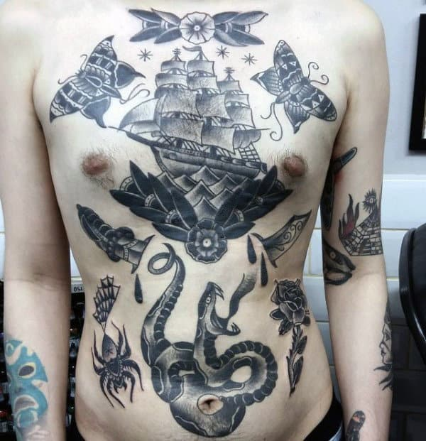 Manly Male Traditional Ship Tattoo On Upper Chest