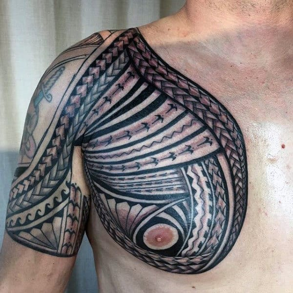 Manly Male Tribal Chest Tattoo