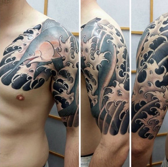 Manly Marlin Tattoo Design Ideas For Men Japanese Half Sleeve With Waves