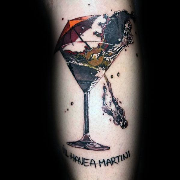 Manly Martini Glass Tattoos For Males