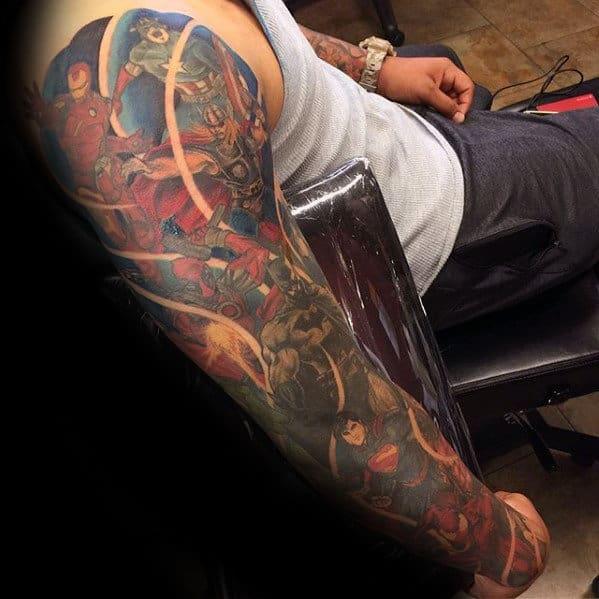 Manly Marvel Superhero Full Arm Guys Sleeve Tattoos