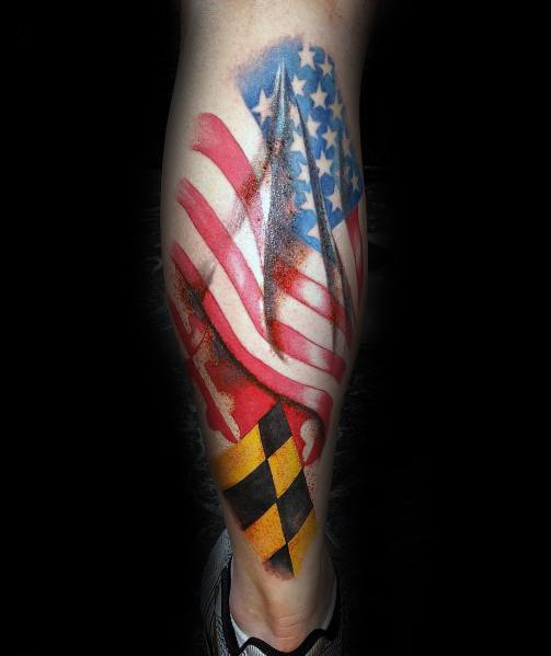 Manly Maryland Flag Tattoos For Males