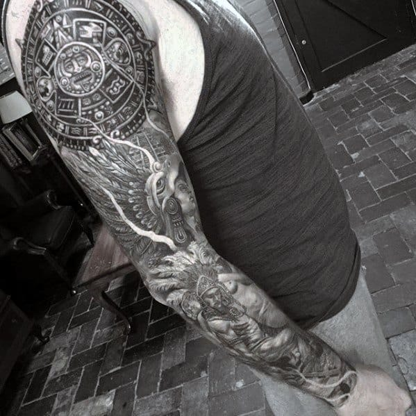 Manly Mayan Calender Tattoo Design Ideas For Men Full Arm Sleeve