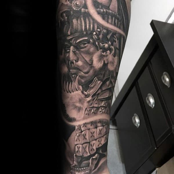 Manly Mayan Forearm Sleeve Shaded Black And Grey Mens Tattoos
