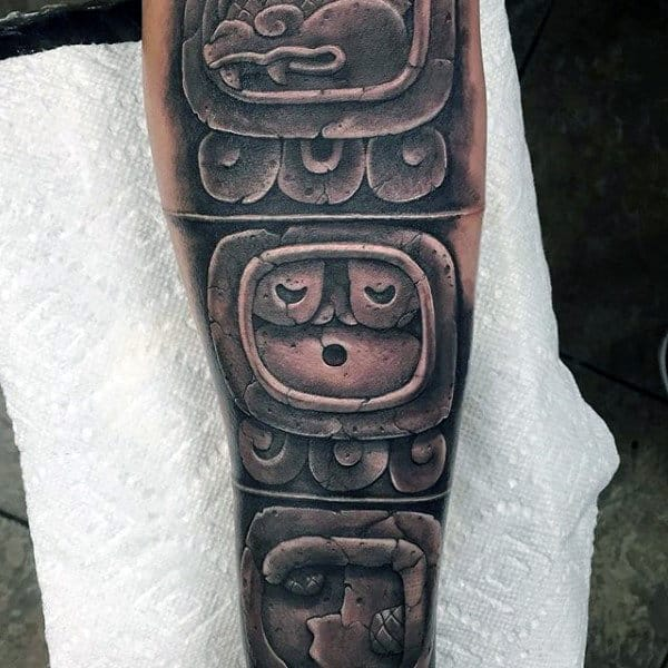 Manly Mayan Stone Male Symbol Tattoo Designs On Forearm