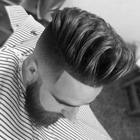 Manly Medium Length Men Hair Styles With Taper Fade On Sides