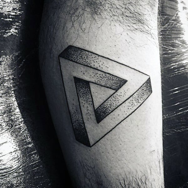 Manly Mens 3D Penrose Triangle Tattoo On Arms