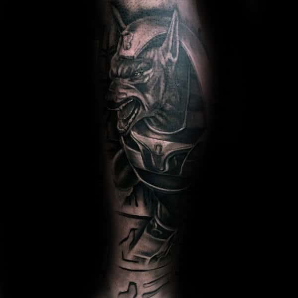 Manly Mens 3d Anubis Leg Sleeve Tattoos