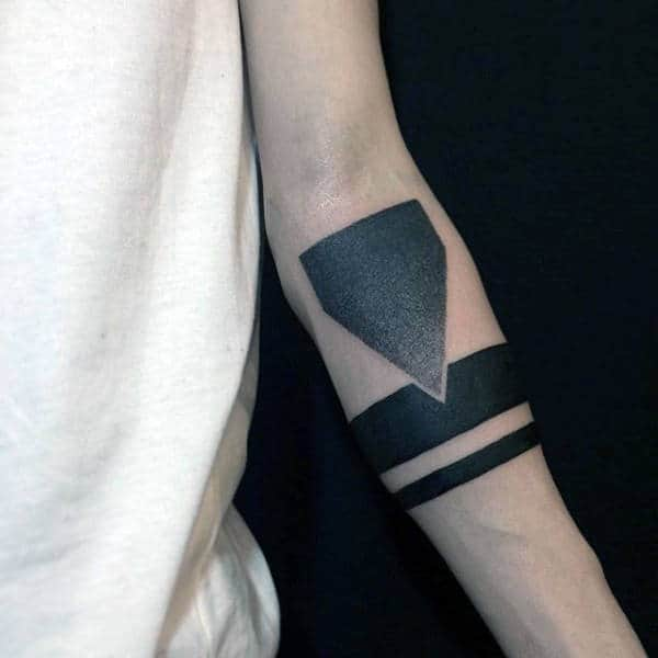 Manly Mens Armband Tattoos Solid Back Lines With Geometric Shape