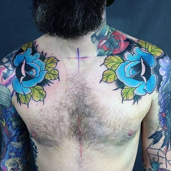 Manly Mens Blue Roses Colorful Shoulder Tattoo Designs